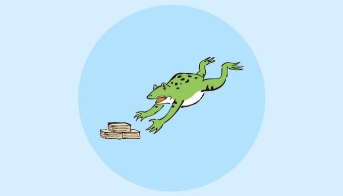 金に飛びつくカエル