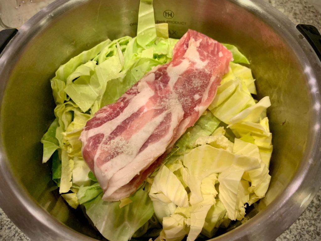 ホットクック 白菜と豚バラ肉の重ね煮 キャベツ